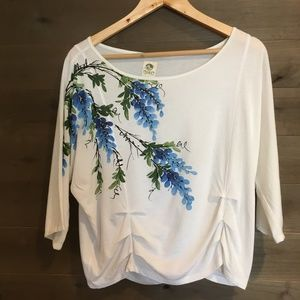 TINY Blue Bonnet Painted Floral Ruched Tee Top